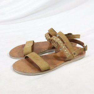 UGG Women's Elin Flat Leather Sandals in Chestnut